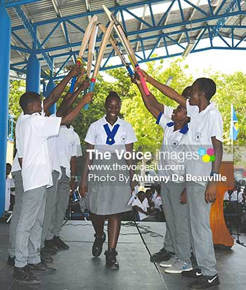 Image: West Indies selectee Qiana Joseph gets a guard of honour from the Corinth Secondary School Under – 15 cricketers. (Photo: Anthony De Beauville)