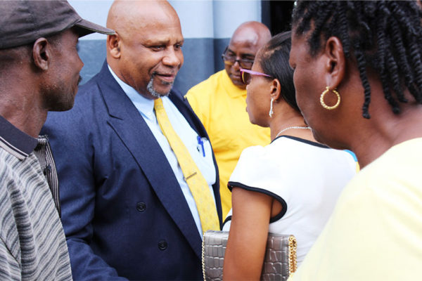 Image of Minister Ezechiel Joseph greeting supporters on Tuesday. [PHOTO: PhotoMike]