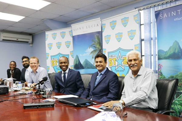 Image: Minister Fedee and officials at a recent press breifing