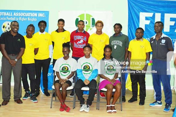 Image: A proud moment for Saint Lucian student athletes flanked by PS Donavan Williams, Free Kick Foundation CEO, Aaron King, Rohan Lubon and SLFA Technical Director Cess Podd. (Photo: Anthony De Beauville)
