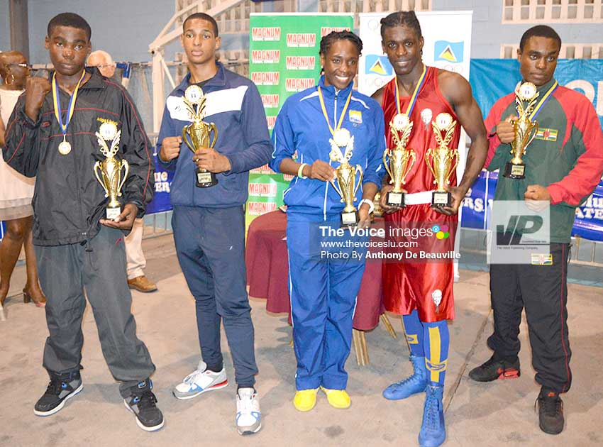 Image: Top boxers – Amor Spied (Antigua and Barbuda, Andy Norden (Martinique), Kimberly Gittens (Barbados), Lyndell Marcellin (Saint Lucia) and Nathaniel Joseph (Dominica). (Photo: Anthony De Beauville)