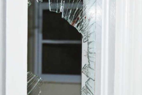 Image of damaged window. (PHOTO: Anthony De Beauville)