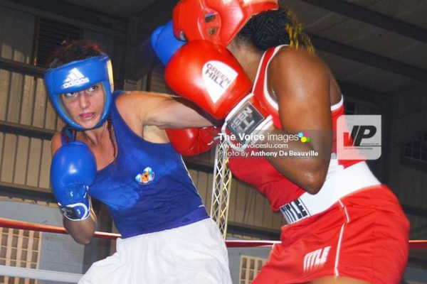 Image: Kimberly Gittens (Barbados) and Harmoni Meriot (Guadeloupe) have a go at it.(Photo: Anthony De Beauville)