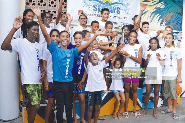 Image: Sea Jays Swim Club celebrates. (Anthony De Beauville)