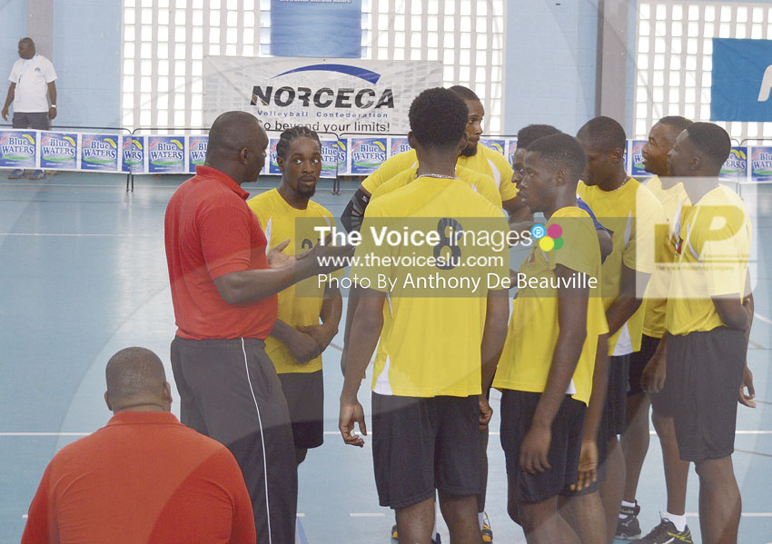 img: Hard talk during a technical timeout coming from Antigua's coach.     (Photo: Anthony De Beauville)