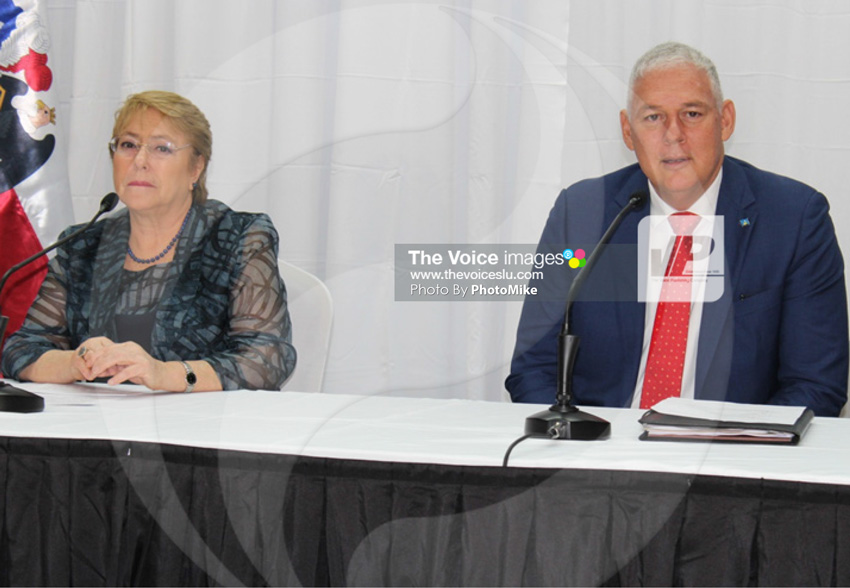 img: Chilean President Bachelet (left) and Prime Minister Chastanet at yesterday's news conference, which simply entailed statements made to the media by both leaders.
