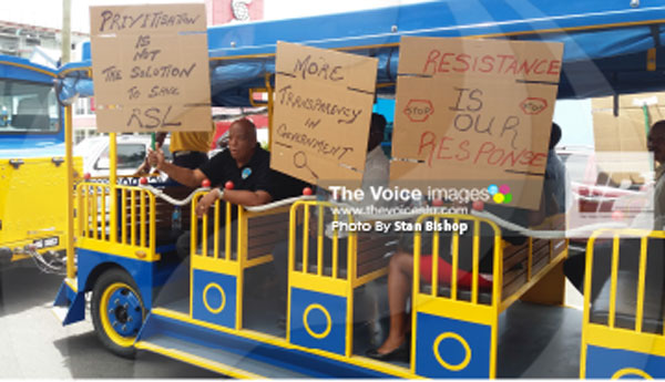 IMG: CSA members show solidarity for RSL employees in Castries on Monday. [PHOTO: Stan Bishop]