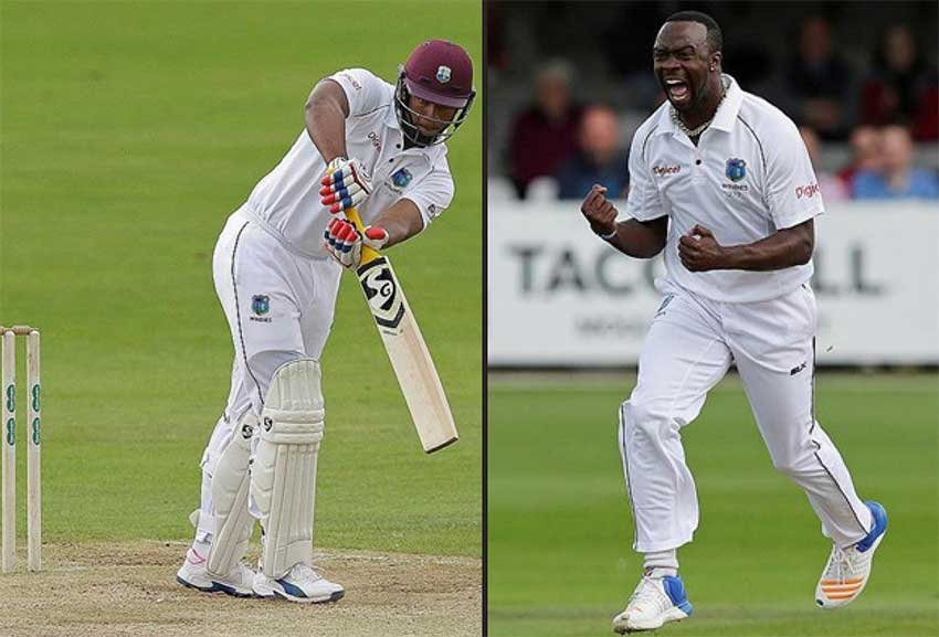 Image: (L-R) West Indies batsman Kieran Powell and fast bowler Kemar Roach set to take on England.