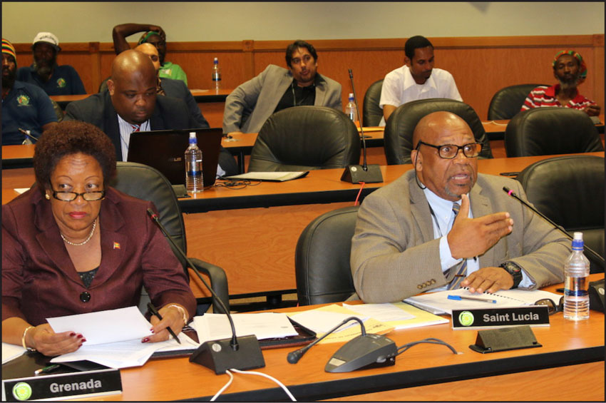 IMG: St. Lucia's Agriculture Minister, Ezechiel Joseph (right) at the meeting.