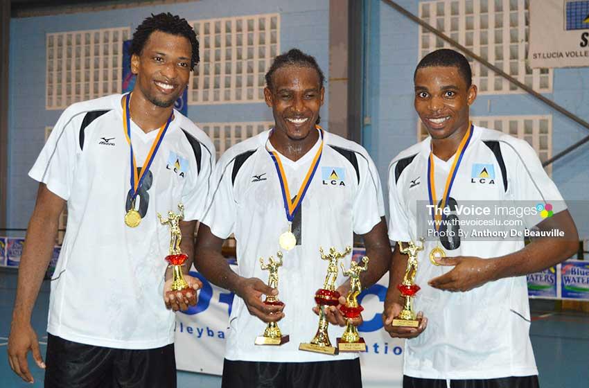 Image: (l-r) Saint Lucia's top awardees, Tervin St. Jean, Joseph Clercent and Sheldon Descartes. (Photo: Anthony De Beauville)