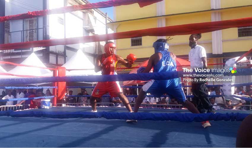 Image: Boxing in progress. [PHOTO By Rochelle Gonzales]