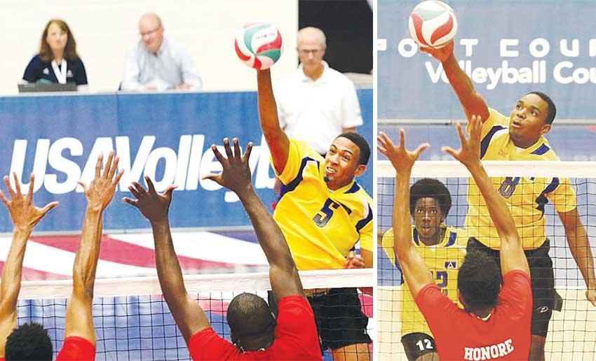 Image: (L-R) Saint Lucia's Darnel Eudoxie and Sheldon Descartes in action against Trinidad and Tobago. (PHOTO: Norceca)