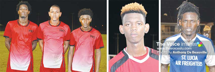 Image: (L-R) Goals scorers for Marchand Andrus Remy, Valdez Maximin and Javis Evans versus Babonneau; Ajal Augustin scored for Anse la Raye against La Clery; Troy Greenidge secured Gros Islet's semifinal spot. (PHOTO: Anthony De Beauville)