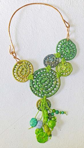 Image of green basket necklace by Finola Jennings-Clark.