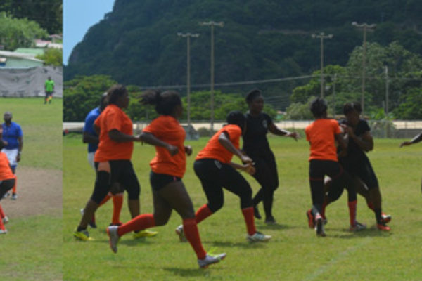 img: Exciting rugby displayed on the pitch during the one-day tournament at the Soufriere Mini Stadium. (Photo: SLRFU)