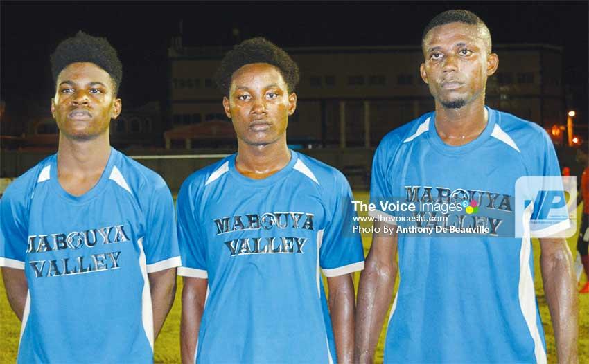 Image: (L-R) Mabouya Valley goal scorers versus Roseau Valley: Shervin Simon, Nicholas Leonty and Jan Sonson. (PHOTO: Anthony De Beauville)
