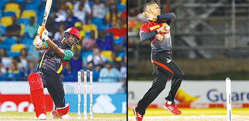 Image: (L-R) St. Kitts and Nevis Patriots opening batsman Evin Lewis; Trinbago Knight Riders mystery bowler Sunil Narine. (PHOTO: CPL)