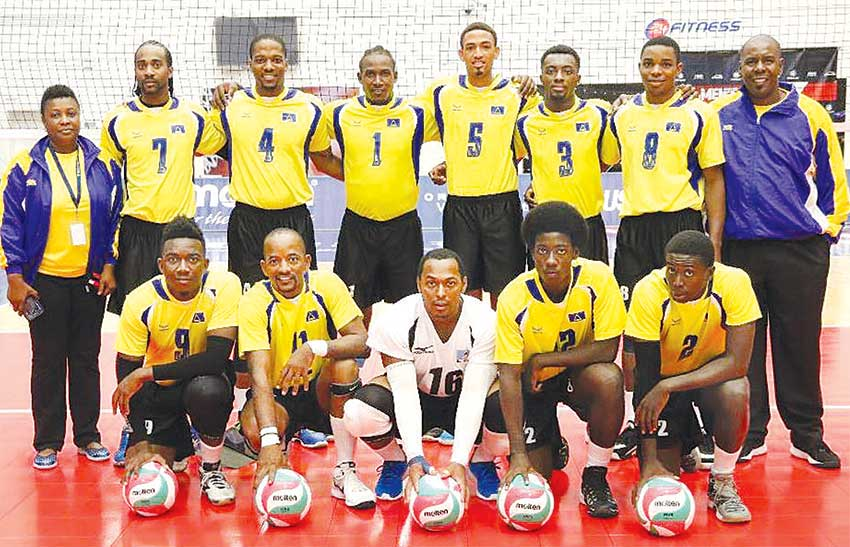 Image: Team Saint Lucia minutes before taking on Trinidad and Tobago on Tuesday evening. (PHOTO: Norceca)