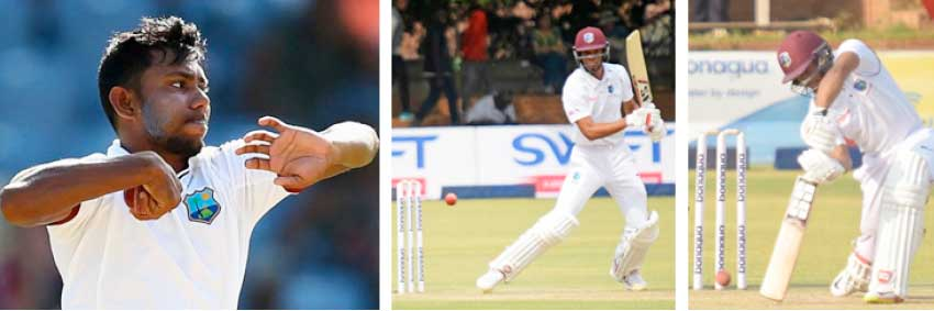 Image: (L-R) DEVENDRA BISHOO TOOK 9 FOR 184, ROSTON CHASE SCORED 95 IN THE SECOND INNINGS AND SHAI HOPE WAS NOT OUT 90 IN THE FIRST INNINGS. (PHOTO: GETTY IMAGES)