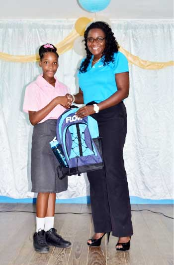 Image: Hileea Joachim, National Science Fair Winner, got a bag from Flow and free service for six months.