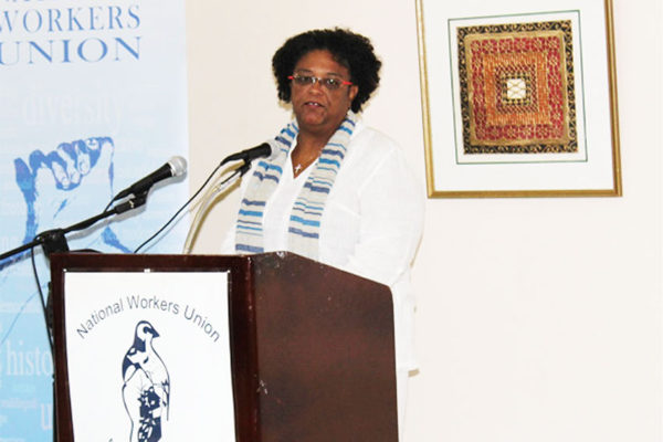 Image of Mia Mottley at the NWU Conference of Delegates Friday. [PHOTO: PhotoMike]