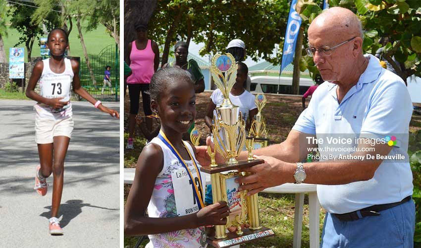 Image: (L -R) Skye Eugene, overall female winner cross the finish line; Skye receiving overall trophy from a representative of Caribbean Metals.(Photo: Anthony De Beauville)