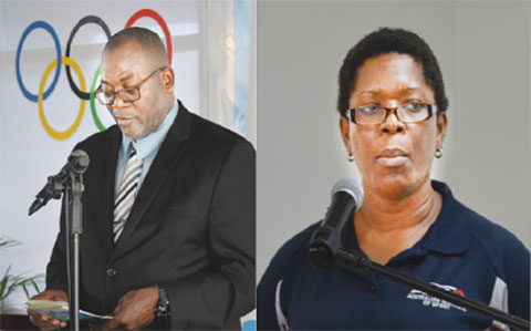 Image: Image: (L-R) Sports Minister Edmund Estaphane; School Sports Coordinator, Isabel Marquis; Coaches within the Department. (PHOTOS: Anthony De Beauville)