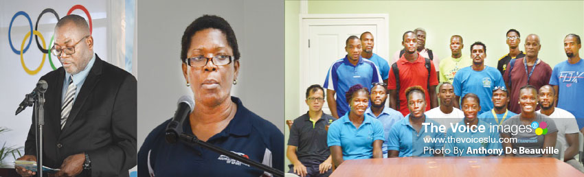 Image: (L-R) Sports Minister Edmund Estaphane; School Sports Coordinator, Isabel Marquis; Coaches within the Department. (PHOTOS: Anthony De Beauville)