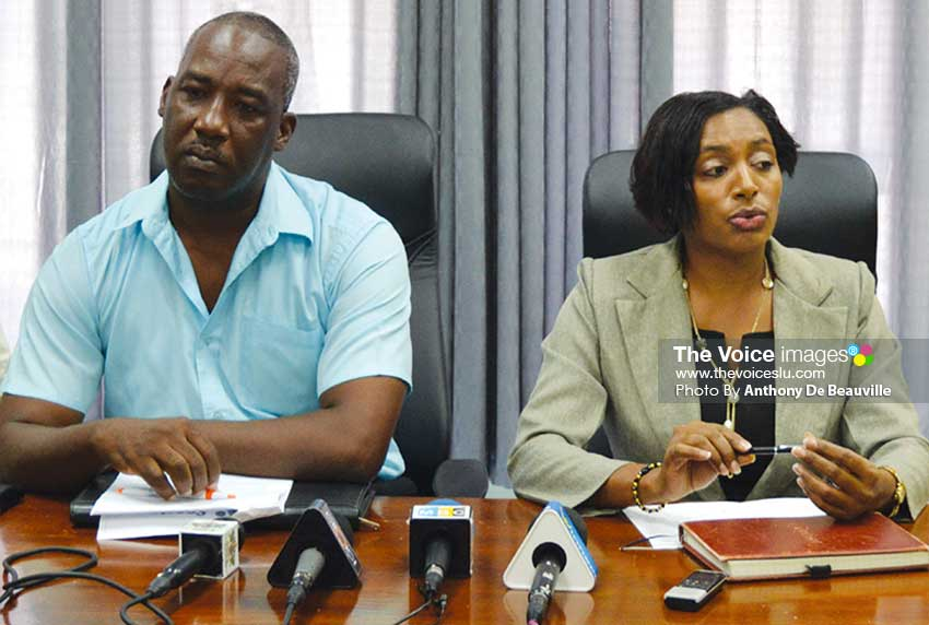 Image: (L-R) Chairman Saint Lucia Sports Inc, Steven Regis and Vice Chair/Director, National Lotteries Authority, Nancy Charles. (PHOTO: Anthony De Beauville)