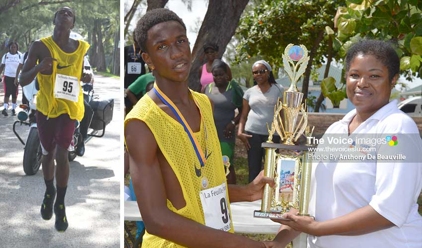 Image: Zidan Danzie, overall male winner finishing the 4-kilometre run; Zidan receiving overall trophy from a representative of Massy United Insurance Limited. (Photo: Anthony De Beauville)