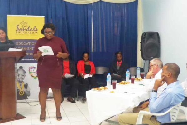 Image: A moment of the business presentation ceremony of the recently concluded Sandals Foundation funded, TSOBE BE Programme.