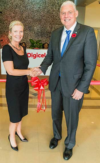 Image: Allen Michael Chastanet, Prime Minister of Saint Lucia, Minister for Finance, Economic Growth, Job Creation, External Affairs and the Public Service; and Vanessa Slowey, CEO Digicel Caribbean and Central America, greet each other at the official opening of Digicel's new hub office in Saint Lucia.