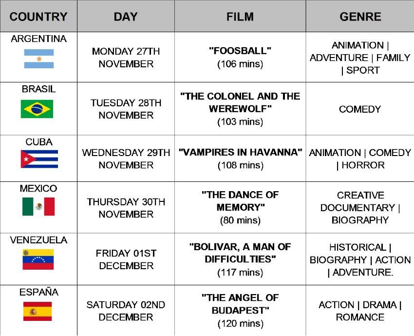 Image of schedule for the week of activities