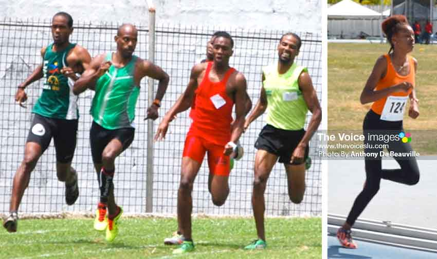 Image: (l-r) Neville Dupre, Jason Sayers and Michael Biscette( first from right) battling it out in a 1500 metres race; female distance runner KamillahMonroque. (Photo: Anthony De Beauville)