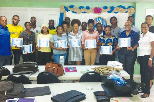 Image of Participants with their certificates at the Belfund workshop.