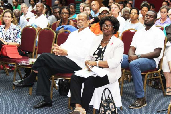 Image of SLNT founder, Sir Julian R. Hunte; and Trust Patron, Governor General Dame Pearlette Louisy, were among the huge crowd turnout at last Saturday's meeting. [PHOTO: Stan Bishop]