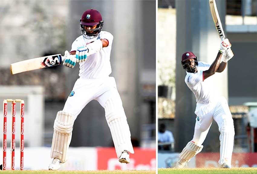 Image: (l-r) Shane Dowrich (103), Jason Holder (110).The two amassed 212 runs for the eighth-wicket partnership. (Photo: AFP)
