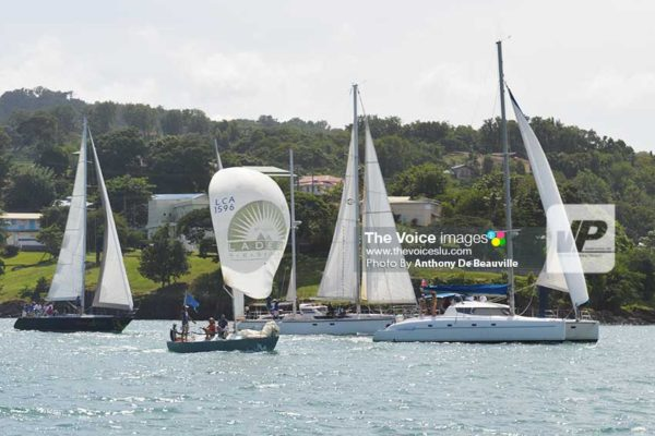 Image: Some participants in this year's Flotilla making their way out of the Castries Harbour on Sunday. (Photo: Anthony De Beauville)
