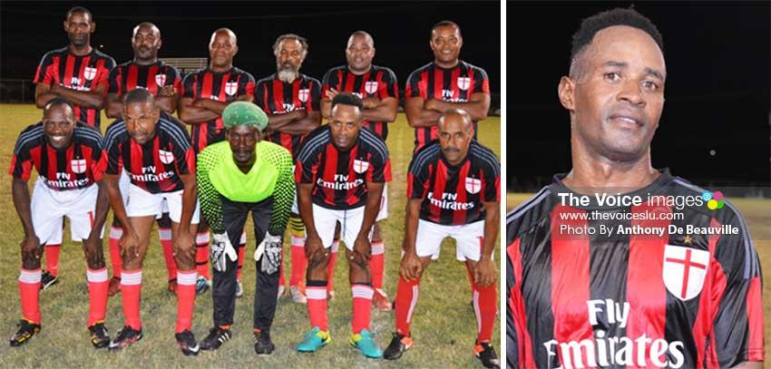 Imgae: (L-R) The victorious Anse la Raye team against BTC; ALR goal scorer Mervin St. Croix. (PHOTO: Anthony De Beauville)