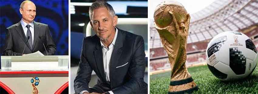 Image: (L-R) Vladimir Putin is expected to attend Friday's draw in Moscow; Gary Lineker will co-host the 2018 World Cup draw; the FIFA World Cup. (CREDIT: Getty Images).