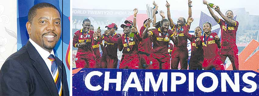Image: WIC President Whycliffe 'Dave' Cameron; ICC World T20 Champions West Indies. (PHOTO: WICB Media /Getty Images)