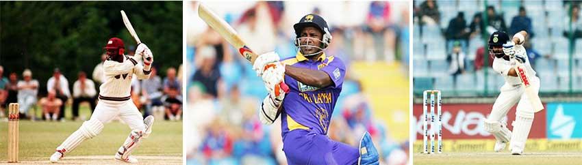 Image: (L-R) Brian Lara (West Indies), SanathJayasuriya (Sri Lanka) and ViratKohli (India). (Photos: Getty Images/ BCCI)