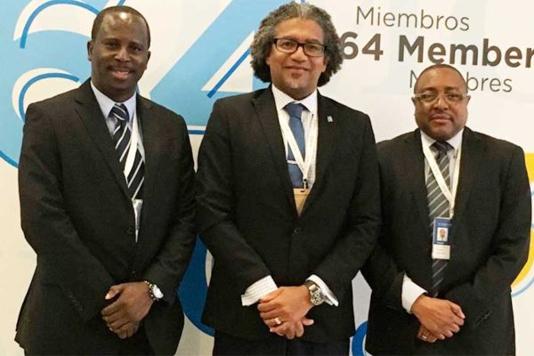 Image: (L-R): Dr. Thomas Samuel, Trade Advisor -- Department of Commerce; Bradly Felix, Minister for Commerce; and Titus Preville, Permanent Secretary