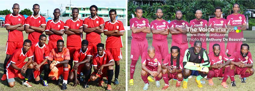 Image: (L-R) Group C quarterfinalists All Blacks: Dennery and Soufriere Veterans. (PHOTO: Anthony De Beauville)