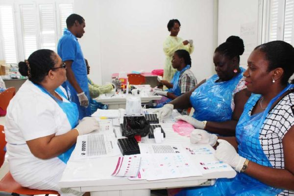 Image: HIV/Syphilis rapid Testing and Certification Training underway.