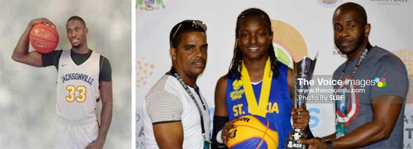 Image: (L-R) Joel Polius; IBF 3x3 female MVP Ramani Lewis-Emmanuel receiving her award from CBC organizers of the Antilles tournament. (PHOTO: SLBF)