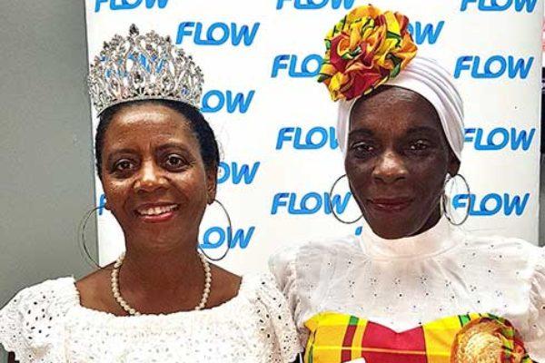 Image: La Wenn De La Wenn winners, Angela Simon, left, and Fredricka St. Croix, with their new phones from Flow.