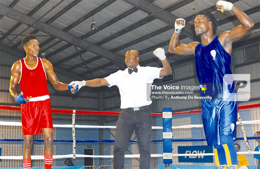 Image: Lyndell Marcellin muscles his way to another impressive victory; Marcellin defeated Barbados Kiomel Miller in a Referee Stopped Contest in round 2. (PHOTO: Anthony De Beauville)