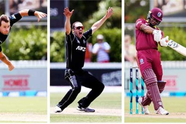 Image: (l-r) New Zealand's Doug Bracewell struck twice in his first over; Todd Astle appeals for a wicket; West Indies' Evin Lewis top scored with 76, and Rovman Powell made 58. (Photo: Getty Images/ AFP)
