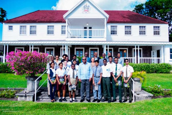 Image: Regional Top Awardees and CXC delegation with Nevis His Excellency Sir Tapley Seaton, Governor General of St Kitts and Nevis.